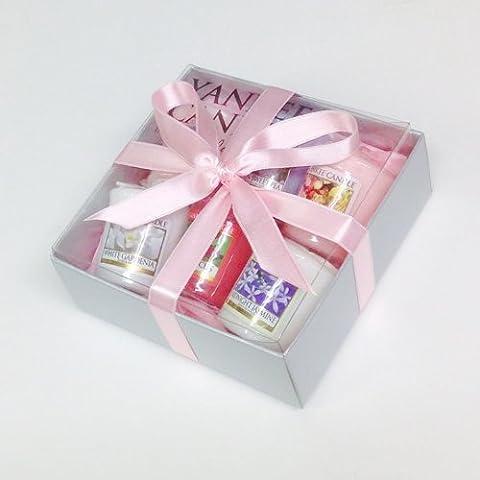 Yankee Candle–6Perfume de carámbanos). Plata en caja regalo con bebé Rosa Tejido y lazo de color