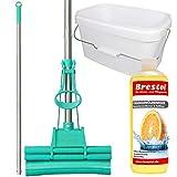 Green Mop Set 20-03 - Green Mop 20 cm + Stiel + 10 Liter Eimer in weiß + 1000 ml Orangenölreiniger Konzentrat - Doppelwringer Mop saugstarker WischMop PVA Bodenwischer