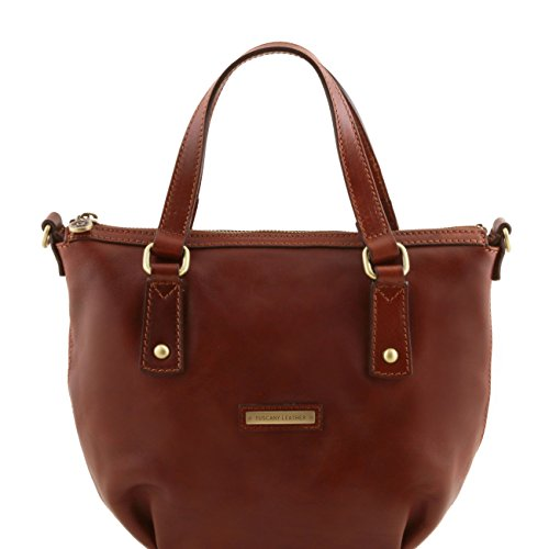 Tuscany Leather Olga - Borsa shopping in pelle Rosso Borse donna a mano in pelle Marrone