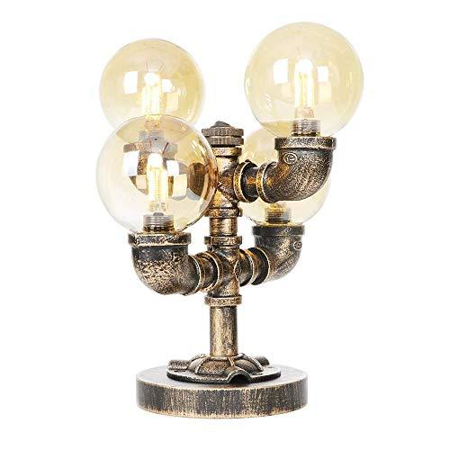 LYDB 4 Lichter Industrie Vintage Nachttisch Tischlampe mit Bernstein Global Glasschirm - Steampunk Wasserpfeife Schreibtisch Tischlampen Bronze - G4 LED Lichtquelle Nicht enthalten