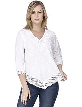 De las mujeres Verano Sayo Algodón Tee Tops Casual Suelto Corto Manga T Camisa Blusa