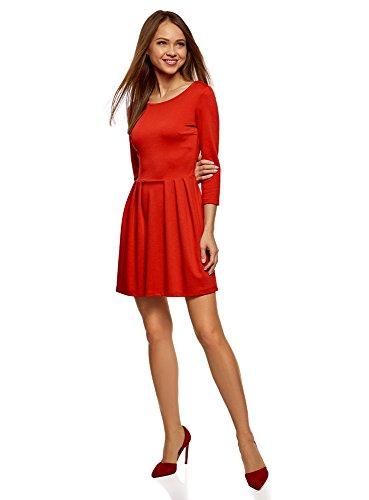 oodji Ultra Damen Tailliertes Jersey-Kleid, Rot, DE 36 / EU 38 / S (Weiches Jersey-kleid)