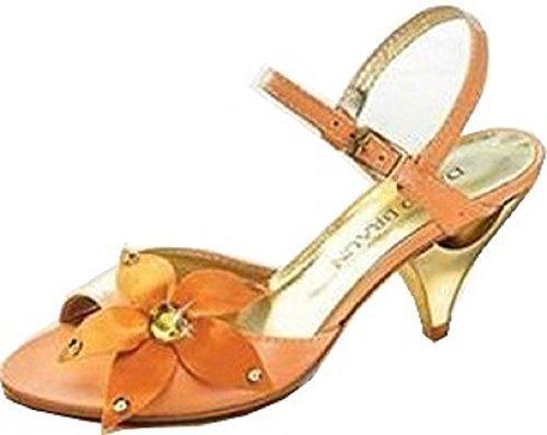 Sandalette D. Sandalette D. Braun Mit Glitzersteinen In Orange Marrom Com Brilhantes Pedras Em Laranja