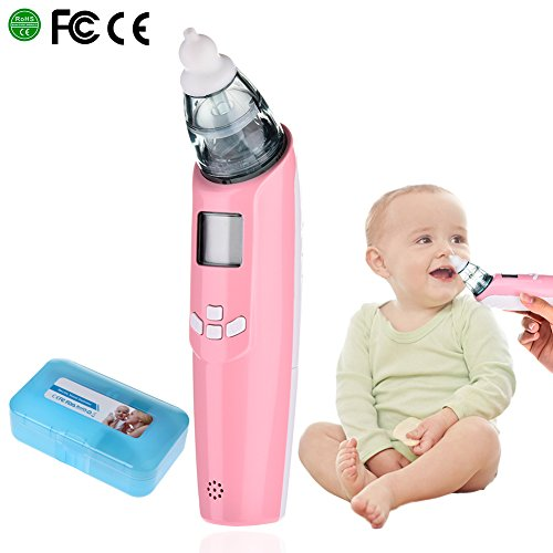 Baby Nasensauger, Luerme Electric Nasensauger Safe Hygienische Nase Reiniger mit LCD Bildschirm, Musik, bunten Licht und 3 Ebenen Saug für Neugeborene und Kleinkinder (Rosa) (Ebene Elektrischer)