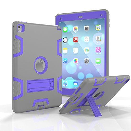 KAMII Schutzhülle für iPad Air 2, iPad 6 Hülle, robust, stoßfest, stoßfest, Hybrid-Schutzhülle, umwandelbar, integrierter Ständer für Apple iPad Air 2, iPad 6 24,6 cm (9,7 Zoll) 9.7 inch Grey Purple (Minisuit Ipad)