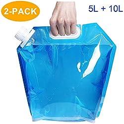 CAVN Poche Sac à Eau Réservoir d'eau Portable [5L + 10L] pour Randonnée Camping Picnic Voyage BBQ, [Plastique PE] [BPA Gratuit] [Non Toxique] [INodore]