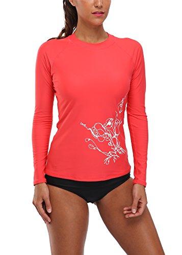 BeautyIn Damen Bademode UV-Schutz Langarm Shirt Rash Guard Top Mit Blumen Print UPF 50+ Rot 42