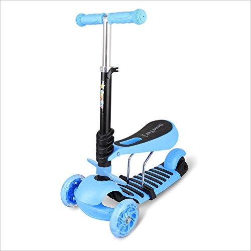 BAYTTER® 3 in 1 Mini mitwachsender Kinderroller Laufrad Dreirad Kinderscooter zum Laufenlernen LED Räder Scooter aus Aluminiumlegierung für Kinder von 2-5 Jahren in drei Höhen verstellbar (Blau)