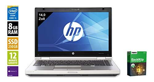 HP Elitebook 8470p Notebook | 14 Zoll Display | Intel Core i5-3230M @ 2,6 GHz | 8GB DDR3 RAM | 250GB SSD | DVD-Brenner | Windows 10 Pro vorinstalliert (Zertifiziert und Generalüberholt)