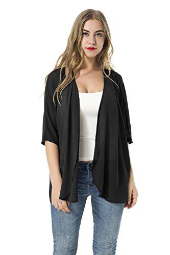 Frauen Lose Blusen Schal Kimono Chiffon Strickjacke Tops Shirts (M, Schwarz) (Deck Fab)