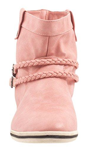 Elara Damen Schlupfstiefel | Flache Schnallen Stiefelette | Trend Boots Zierknöpfe Pink