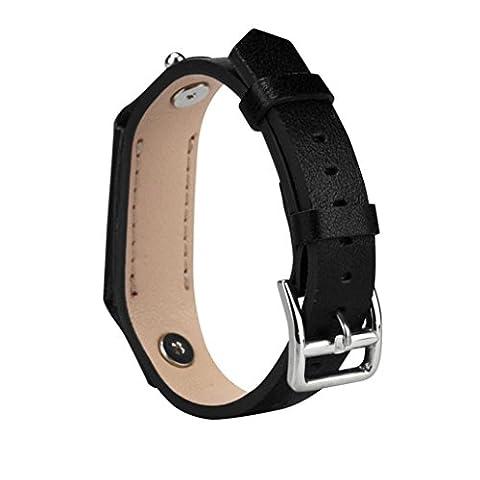 Ihee Luxe Douceur Cuir réglable Bracelet de montre bracelet pour Fitbit Flex 2Smart Watch M noir