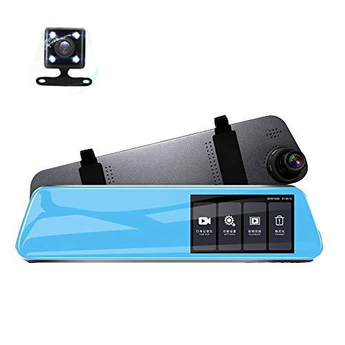 Dash Cam Rückspiegel Fahrrekorder-Doppellinse 4,5 Zoll HD 1080P IPS-Touchscreen 140 ° Weitwinkelkamera mit Loop-Aufnahme G-Sensor-Parkmonitor 82 Night Vision