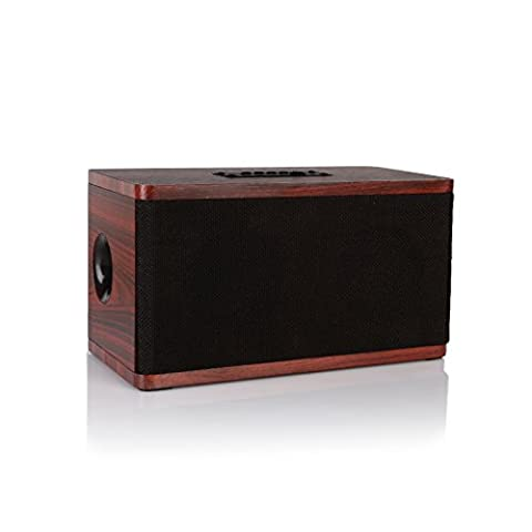Radioddity Bluetooth 4.0 Bois Table Orateur FM Table Radio, 10W Dual Sans fil Haut-parleur, Hands-free Call MP3 Player Supports TF Carte rouge bois