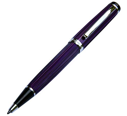 Xezo incognito Brass Ballpoint Pen in Purple Metallic color, diamond-cut Engraved, Serial, Platinum Plated Parts (incognito Purple B)