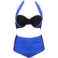 Formulaone Traje De Bikini Atractivo Traje De Baño De Mujer Trajes De Baño De Color Un Juego Cuello Halter Empuja hacia Arriba del Bikini Conjunto De Traje De Baño Sin Espalda - Azul Y Negro XL