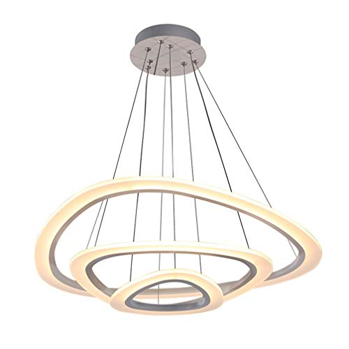 Tea fairy 46W Moderne Pendelleuchte LED Metall Und Acryl Kronleuchter 3-Ring Design Hängeleuchte, Warmes Licht, Innen Wohnzimmer Esstisch Deckenbeleuchtung Durchmesser 64 + 43 + 25CM -