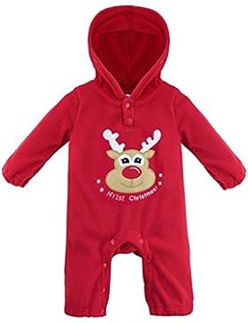 YiZYiF Unisex Baby Strampler Nikolaus Weihnachtsmann Overall mit Kapuze aus Nicki Unisex Bodysuit Weihnachtskostüm...