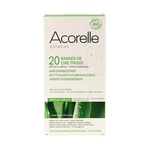 Acorelle - Bandes De Cire Froide Aisselles & Maillot 20 Bandes Bio - Lot De 3 - Livraison Rapide En France - Prix Par Lot