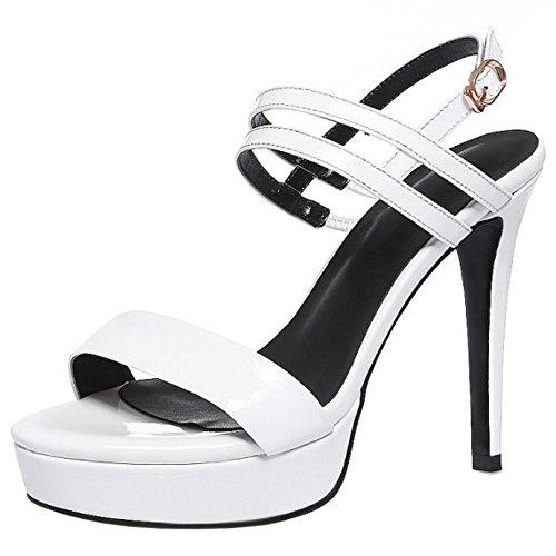 TAOFFEN Damen Mode Plateau Slingback Stiletto Absatz Schnalle Sandalen Sommer Party Schuhe Weiß