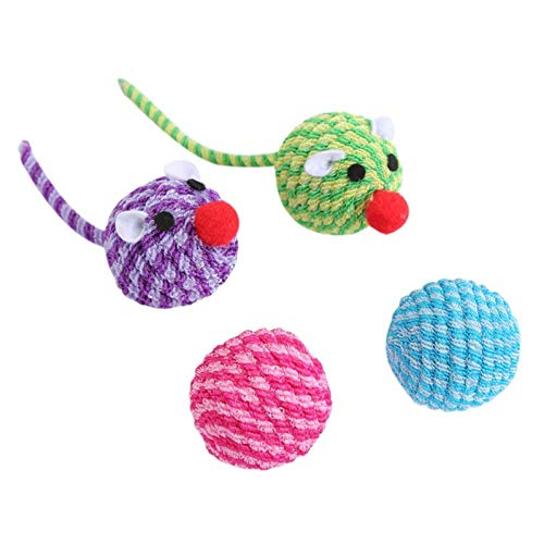 Haustier Spielzeug Haustier Katze interaktive Puppzle lustige Spielzeug Set sortieren Mäuse mit FederballPlüsch Kugeln Spielzeugelastischen Draht gewebt Kugeln Set