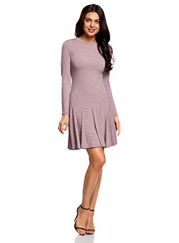 oodji Ultra Damen Jersey-Kleid mit Ausgestelltem Rock, Rosa, DE 36 / EU 38 / S