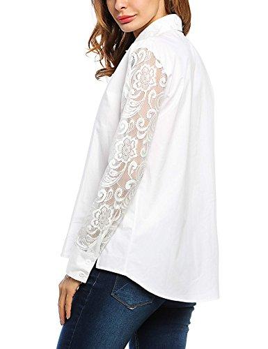 Zearo Damen Turn-down-Kragen Blusen langarm mit Knopf hollow Blumen Lace Spleiß Blusen Hemd Oberseiten Tops Weiß