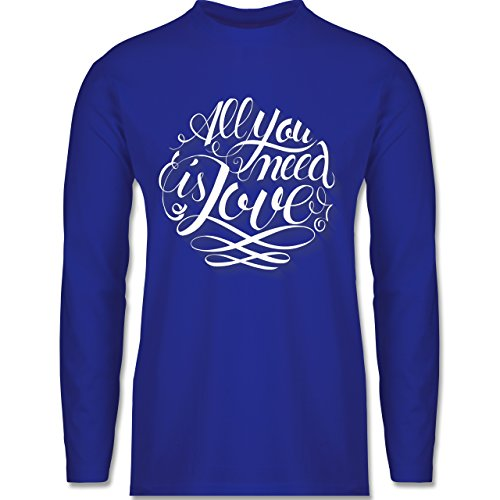 Shirtracer Statement Shirts - All You Need is Love Lettering - Herren Langarmshirt Royalblau