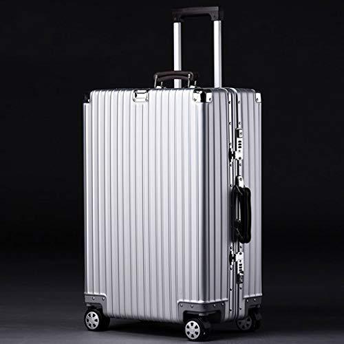 xy Trolley bagaglio a mano Scatola di imbarco bagaglio a ruota universale con ruote mute trolley (Color : Silver, Size : 20 inches 50x35x21CM)