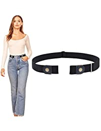 "PALAY® No Buckle Ladies Elastic Belt for Women Mens Invisible Jeans Pants Dress Stretch Waist Belt up to 48"" Christmas Gift by PALAY"