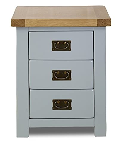 Birlea New Hampshire 3-Drawer Bedside Chest - Wood, Grey and