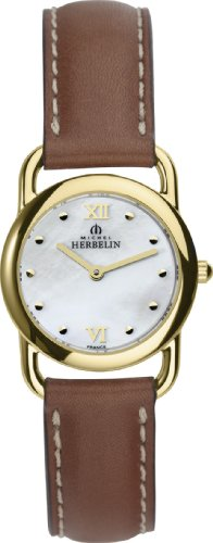Michel Herbelin Equinox Women's Quartz Watch with Mother of Pearl Dial Analogue Display and Brown Leather Strap 17467/P19GO