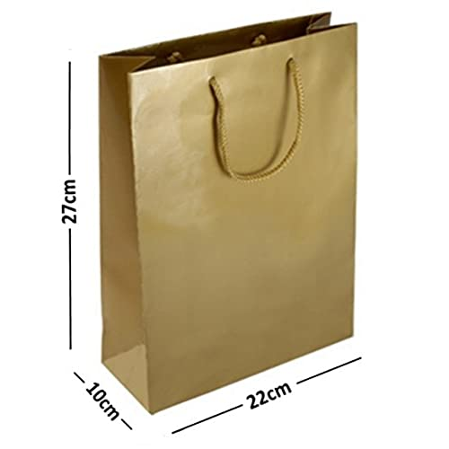 Large gift bags amazon 10 large gold matt laminated gift bags rope handle birthday favours gift bag 22x10x27cm negle Image collections