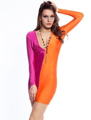 Neue Damen Plus Größe Pink & Orange lange Ärmel Büro Party Kleid tragen besonderen Abend Anlass Kleid Gr. M 10–12 (Anlass Kleid Anlass Besonderen)