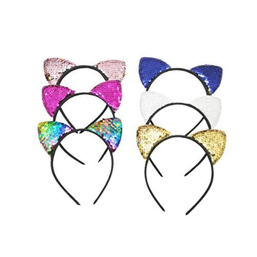 Toyvian 6 Stücke Pailletten Katzenohren Stirnband Reversible Glänzende Katzenohren Haarbänder Haarschmuck für Kinder Kleinkinder Geburtstag Baby Shower Party Cosplay Kostüm -