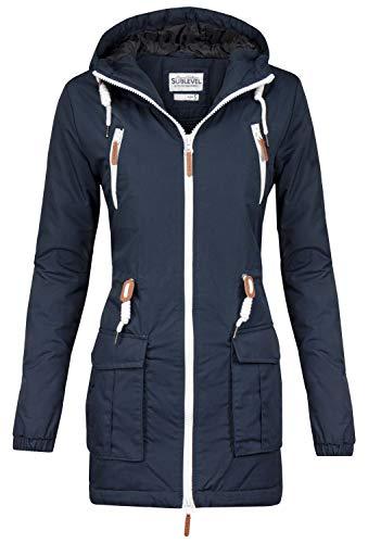 Sublevel Damen Matilda Winter Jacke Parka Mantel Winterjacke gefüttert mit Kapuze 6 Farben XS-XL Midnight Blue M
