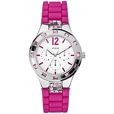 Guess W10615L2 de cuarzo para mujer con correa de silicona, color rosa