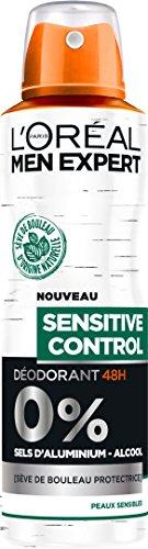L'Oréal Men Expert Sensitive Control Déodorant Atomiseur Homme 200 ml - Lot de 4