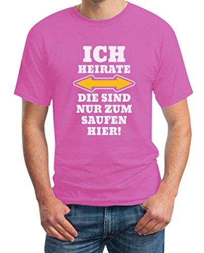 Shirtgeil Herren JGA Ich Heirate Die Saufen Hier T-Shirt Large Rosa