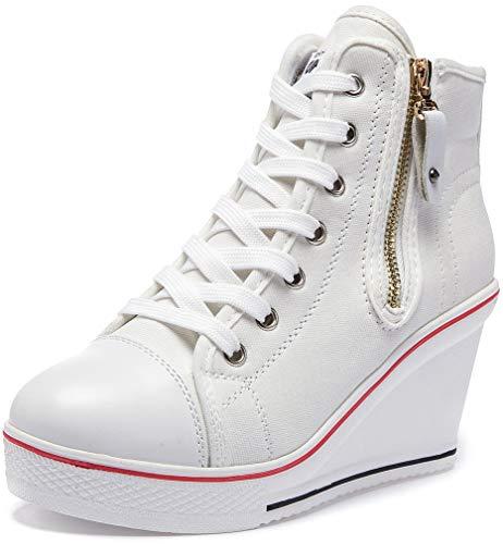 Solshine Damen Canvas Sneaker Wedge Turnschuhe mit 6cm Keilabsatz 689 Weiss 36EU
