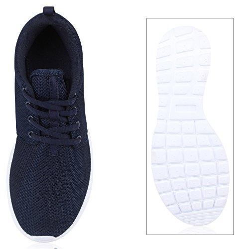 Herren Sportschuhe Muster | Laufschuhe Übergrößen | Sneakers Profilsohle | Blumen Runners Dunkelblau Brooklyn