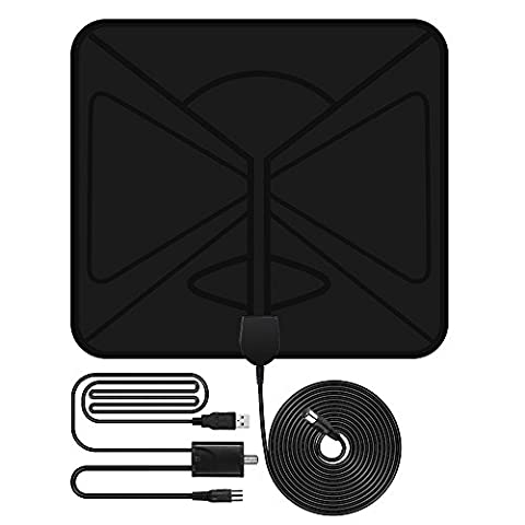 TV Aerial, VicTsing 0.5mm Paper Thin Indoor HDTV Antenna with Detachable Amplifier, 50-Mile Range Signal Booster with 10ft Coax Cable for Digital Analog TV Signals, VHF / UHF, Soft Design
