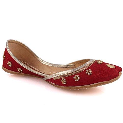 Unze 3 Indian Flache 'hankis' Stilvolle Hochzeit Größe Uk 02 8 Kastanienbraun Womens Leder Un Khussa ZvqrfZ