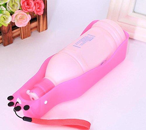 XCXpj Hundenapf Trinkbrunnen Hund Wasserschale Pet Travel Portable Wasserkocher (Pink)