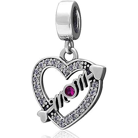 Soulbead Love Mom Charm freccia cuore argento Sterling 925con zirconia cubica trasparente Bead Bracciale o collana regalo per mamma