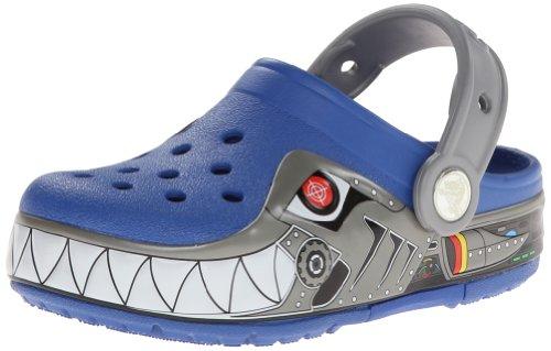 Crocs Lights Robo Shark Ps, Sabots garçon Bleu (Sea Blue/Silver)