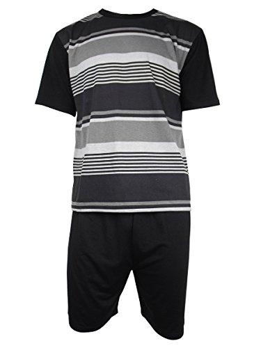 Herren Freizeit PJ Schlafanzüge Sets Nachtbekleidung PJ 2-teilig Pyjama Set Herren Größe M-XXL Schwarz / Grau (S/S Kurz)