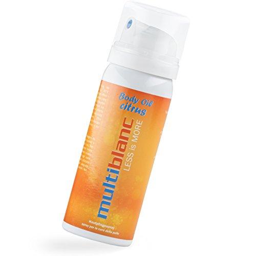 Körperöl für Damen und Herren I Bodyspray Hautpflege mit Mandelöl und Silizium I Hautpflege ohne Aluminium I Dermatologisch getestet I multiblanc Body Oil Citrus 50 ml -