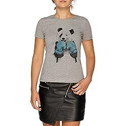 Jergley Los Ganador Boxer Panda Camiseta Gris Mujer Tamaño S | Women'S Grey T-Shirt Size S