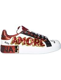 f5ffb6a8710b22 Dolce   Gabbana Chaussures Baskets Sneakers Femme en Cuir Portofino Blanc